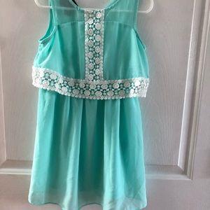 Aqua and crochet lace dress. EUC